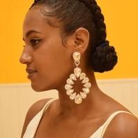big size women party wedding jewelry earrings crystal rhinestone dangle huge earring for girls catwalk fashion show