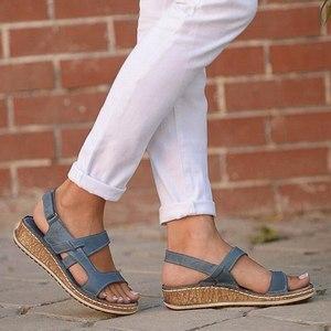 Women Sandals Summer 2021 Female Shoes Woman Peep-toe Wedge Comfortable Sandals Flat Sandals Female Sandalias Plus Size 43
