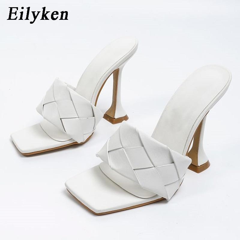 Eilyken 2021 الصيف تصميم جديد نسج ساحة تو الكعوب عالية الجودة غريبة نمط النعال المصارع المرأة صندل الشرائح الأحذية