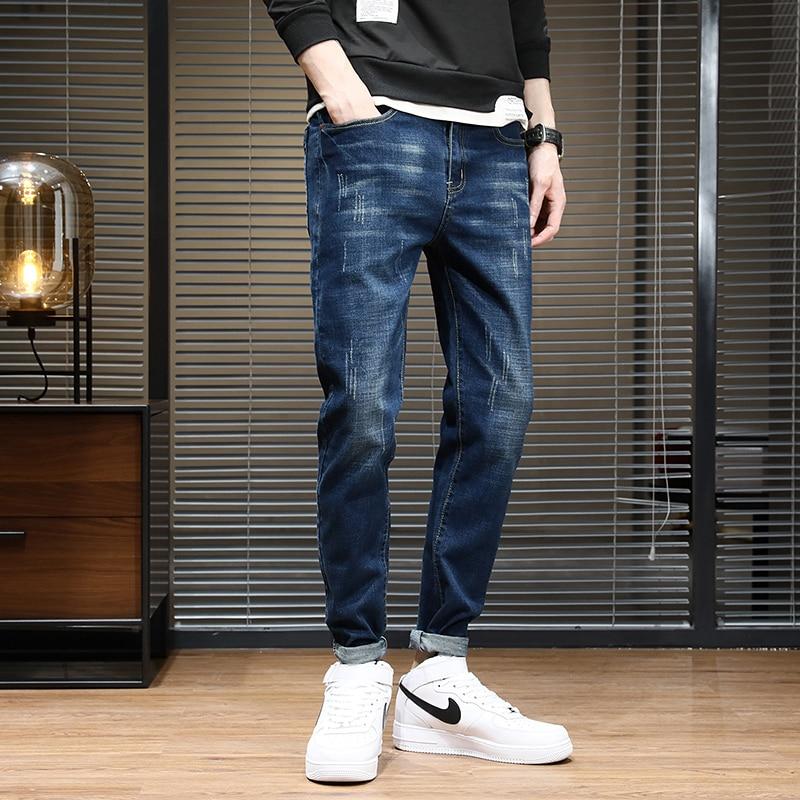 Мужские Винтажные рваные джинсы в стиле хип-хоп, черные потертые байкерские джинсы, Мужские джоггеры, облегающие джинсовые брюки, модные му...