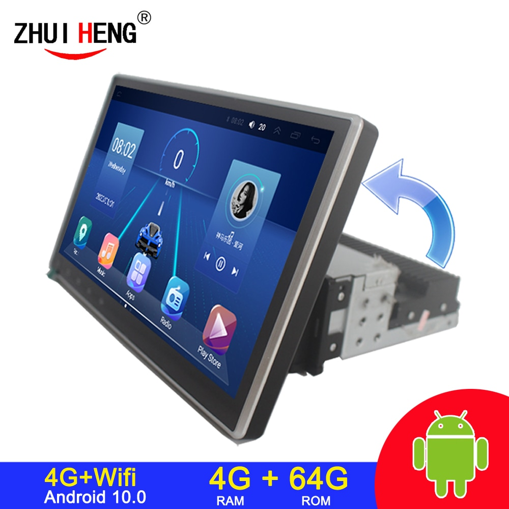 4G+64G 1 Din Car Radio Android Multimedia Player 4G WIFI Rotatable 10