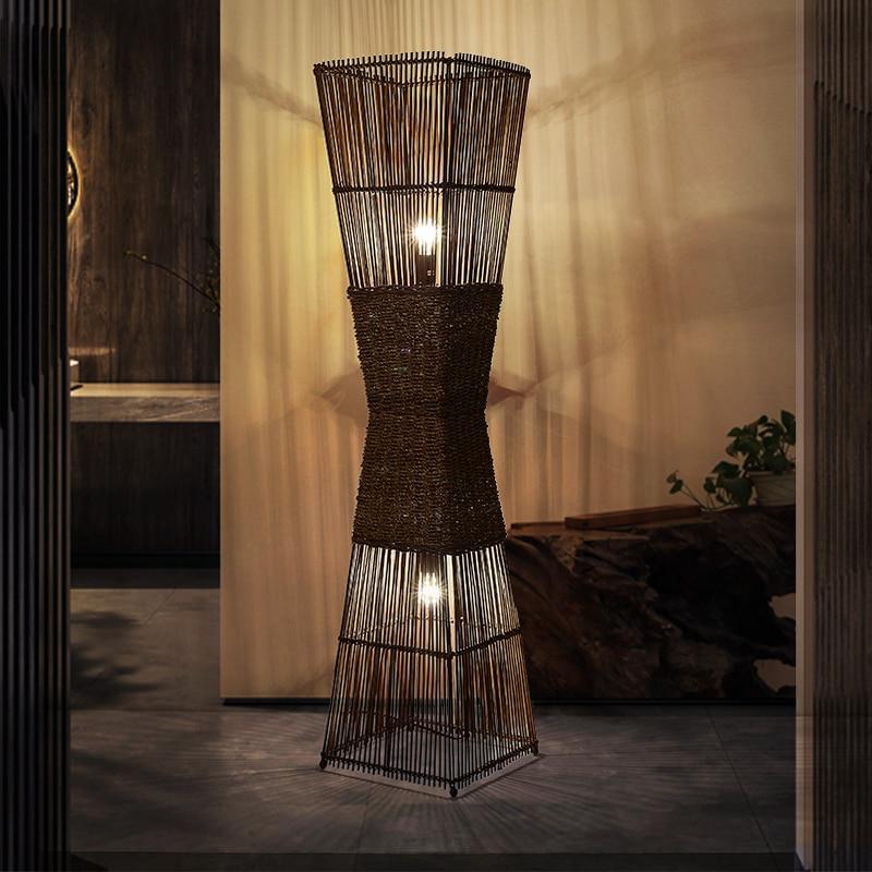 Nordic lâmpadas de assoalho led do vintage simples led canto piso luz tecelagem bambu chinês em pé lâmpadas para sala estar luminárias