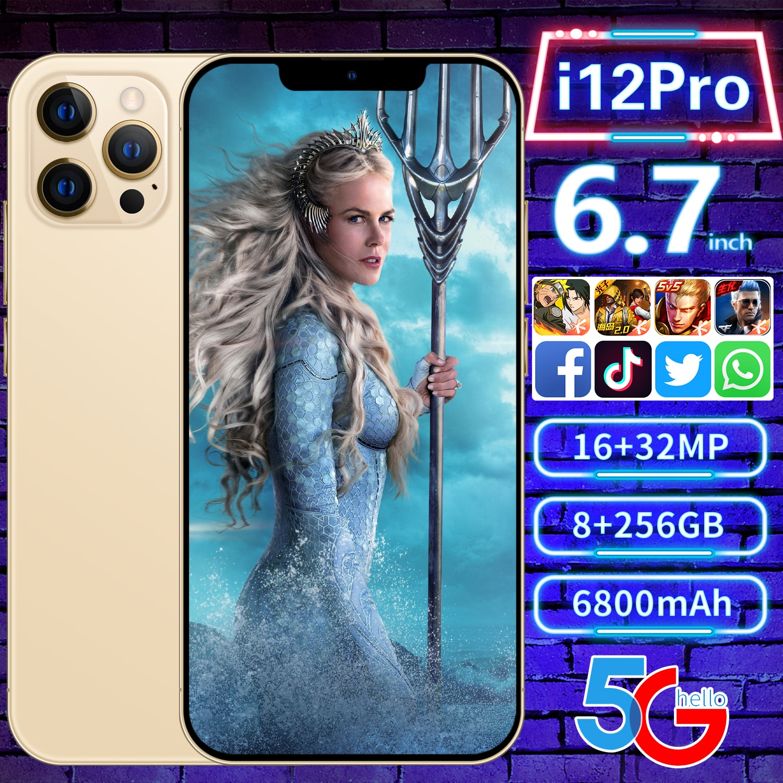 6.7'' FHD Global Version i12Pro Phone 8GB 128GB/256GB MTK6889 Deca Core Display Smartphone 6800mAh Fast Charge 32MP Three Camera