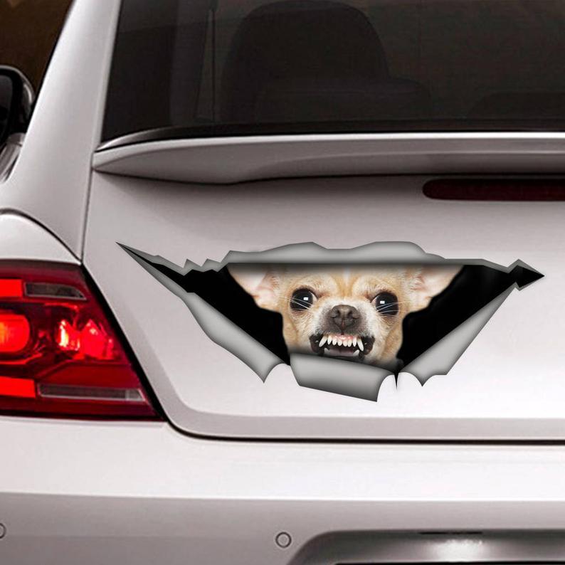 2021 г., автомобильная наклейка для чихуахуа, виниловая наклейка, украшение для автомобиля, фотография, наклейка для собаки