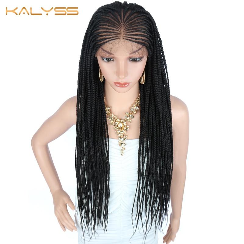 Kalyss 34 pulgadas 13x6 pelucas trenzado a mano sintético largo peluca con malla frontal para mujeres negras trenzas peluca trenzada peluca con malla frontal s