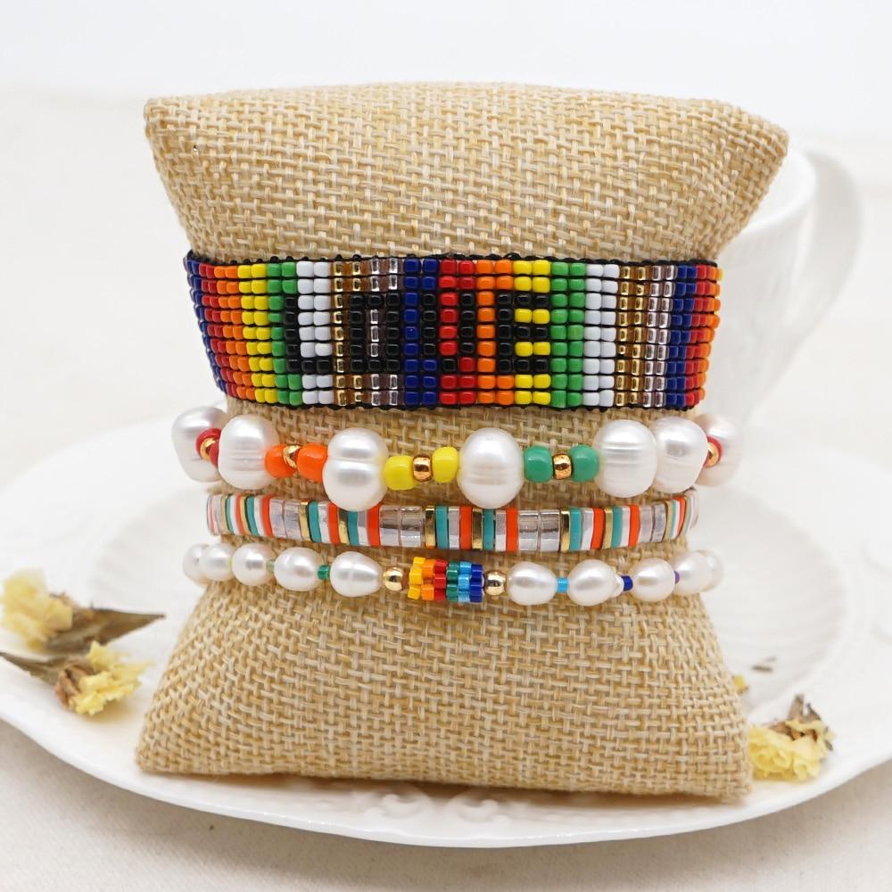Go2boho pérola de água doce pulseira de luxo para mulheres boho verão miyuki arco-íris amor pulseras boêmio tila grânulos pulseiras presente