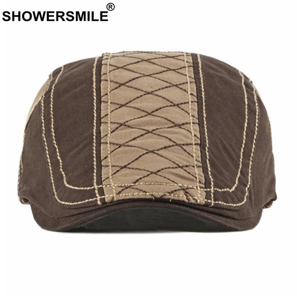 SHOWERSMILE Flat Cap for Men Beret Hat British Style Khaki Patchwork Spring Suumer Cotton Casual High Quality Men's Ivy Hats