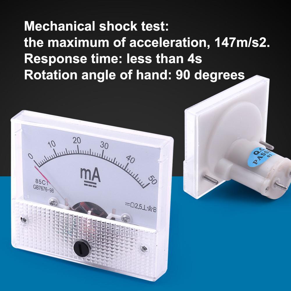 Atoplee 1 sztuk DC 0-50mA 85C-1 GB/T7676-98 analogowy amperomierz pomiaru prądu elektrycznego obwód DC miernik dla domu i eksperymentation