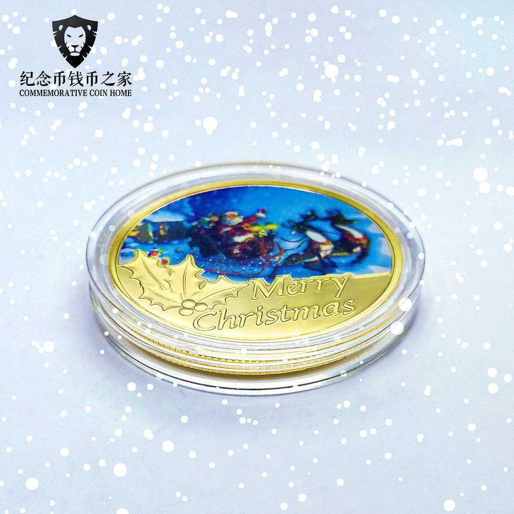 Рождественские детские цветные монеты, детские сказочные золотые монеты, желания, счастливые монеты, лось, новогодние подарки, праздничные ...