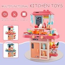 42 Pièces Enfants Cuisine Jouets Simulation детская кухня Pulvériser De Leau Vaisselle Semblant Jouer Cuisine Table Set De Cuisine pour Enfants Cadeaux