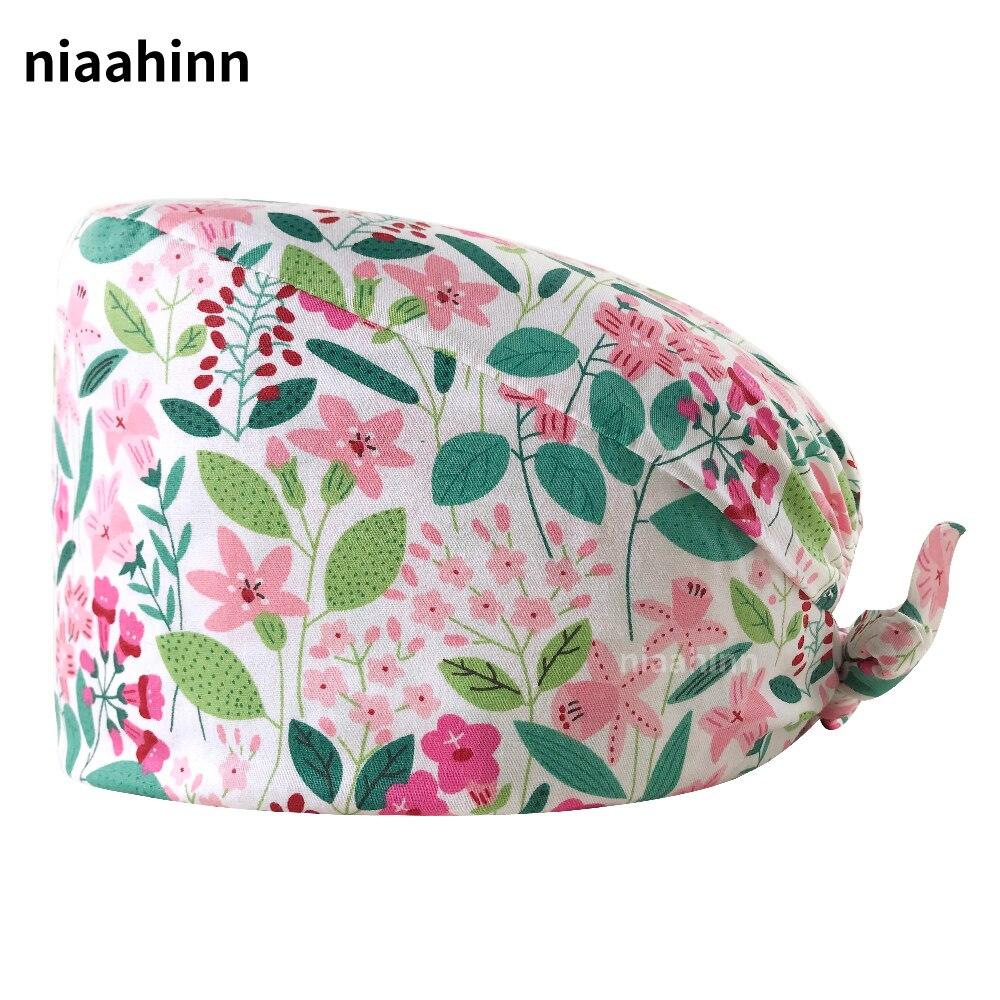 Operating Room Surgical Caps Dental Clinic Doctor Nurse Hats Pet Hospital Scrubs Women Caps Cartoon Printing Hat Laboratory Hats