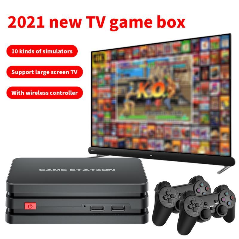 Беспроводная игровая консоль M8 Plus, 4k HD дисплей, проектор для телевизора, монитор, классический ретро стиль, 64 ГБ, 10000 игр, двойной контроллер