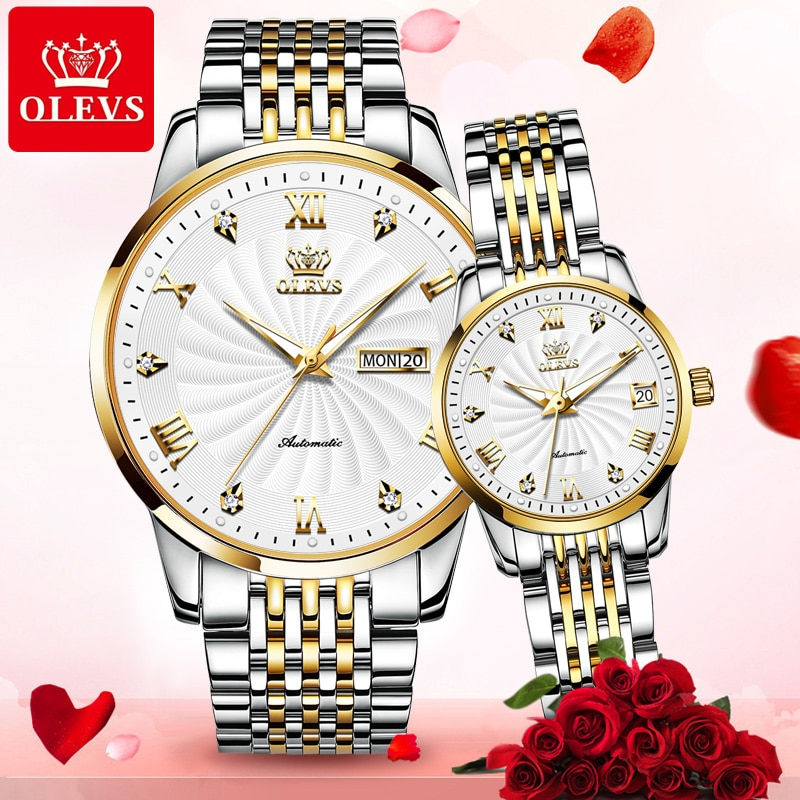 OLEVS automatic mechanical men watches couple watches ladies wristwatch waterproof top luxury Valentine's day 2021 gift for men