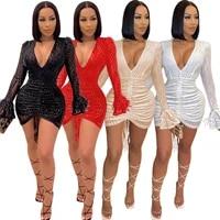 new v neck lantern sleeve night club sequin party sexy a line elegant chic lady dress 2020