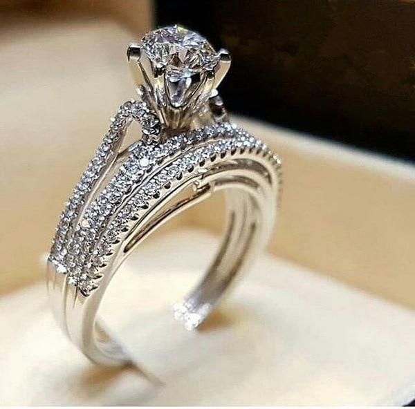 Hot Jewelry Luxury Classic Diamond  Women Ring 2pc with Square Princess Cut Wedding Sterling SilverAnniversary Present
