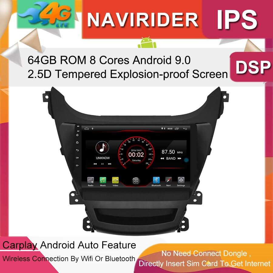 Reproductor Multimedia para coche Monitor de pantalla IPS de 9 pulgadas grabador de cinta GPS Bluetooth Android 9,0 para Audio automático HYUNDAI Elantra 2014-2016