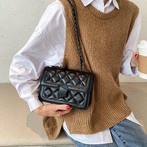 Luxury Chain Embroidery Thread Crossbody Bags For Women Trend Plaid Metal Lock Underarm Shoulder Bag Female Handbag Brand Design