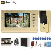 Anchencoky Video Citofono Campanello con serratura e 3A Kit di Alimentazione 7 pollici Video Telefono Del Portello di Controllo di Accesso Cablato Sistema di Supporto sbloccare