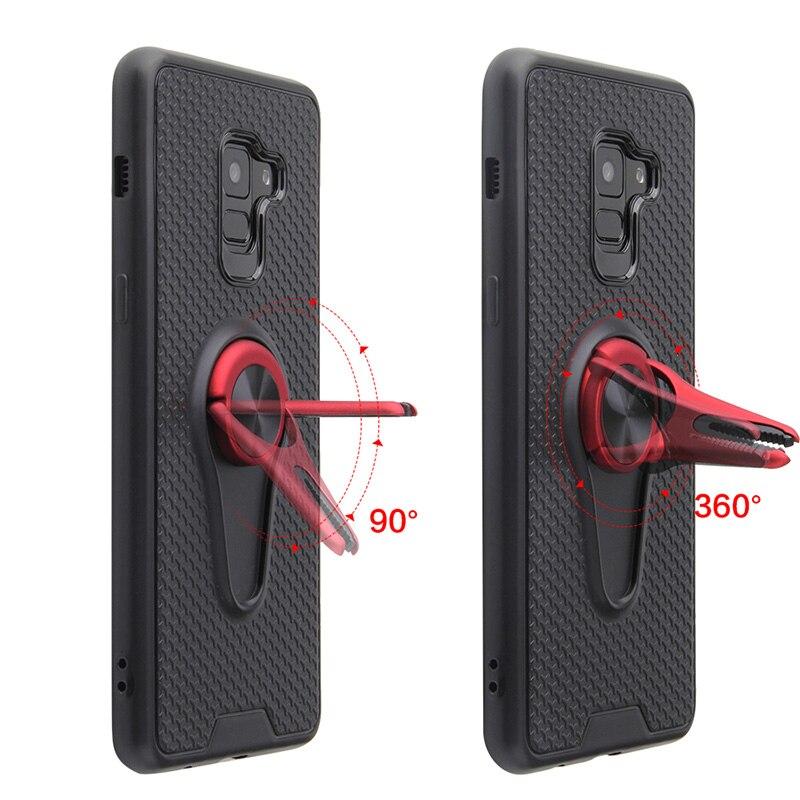 Funda para Samsung Galaxy A8 2018 A530F funda A8 Plus 2018 A730F anillo de dedo salida de aire Kickstand funda trasera magnética incorporada