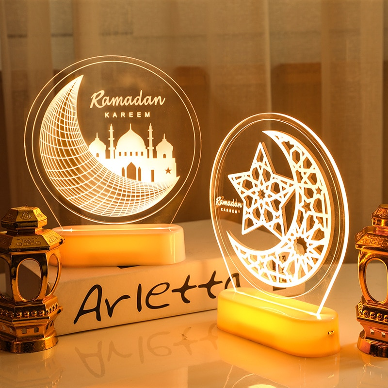 Moon Eid Mubarak Decor Night Light Kareem Ramadan Decoration Eid Gift Eid Mubarak Decor Party Decor Eid Ramadan Decor for Home