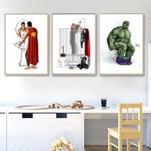 Avengers film Hulk Super Heros Spider-man affiche de toilette nordique drôle Marvel Heros enfants chambre décor à la maison mur Art toile peinture