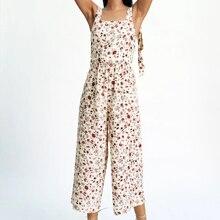 2021 Summer Women Print Rompers Sleeveless Pocket Female Casual High Street Jumpsuit CC3209