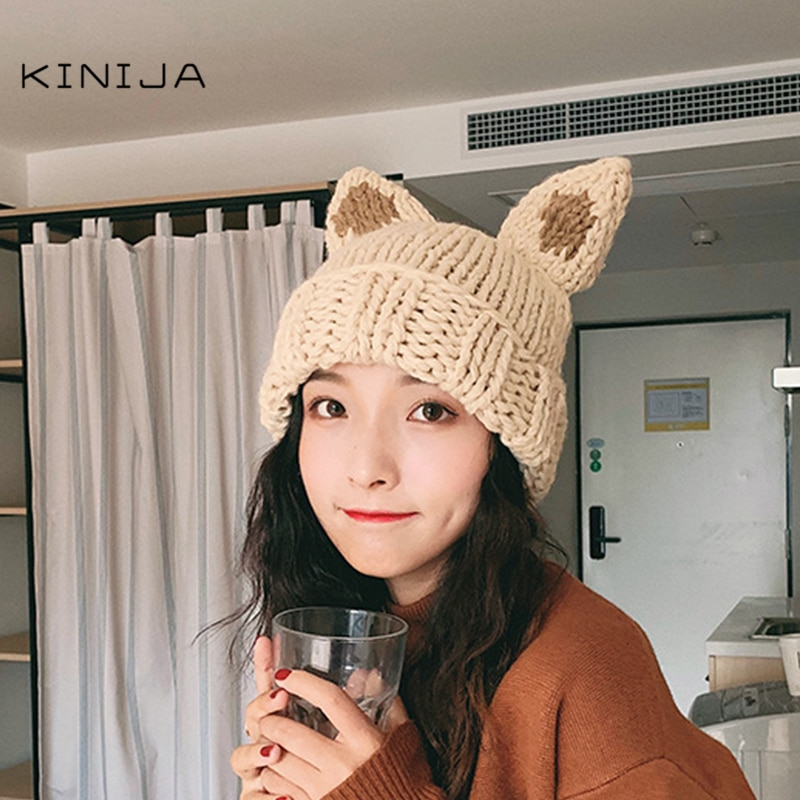 Las mujeres coreanas dulce, Orejas de conejo grueso de punto sombrero de invierno cálido oreja de zorro sólido otoño sombrero Panamá chica melón sombrero tapa del cráneo