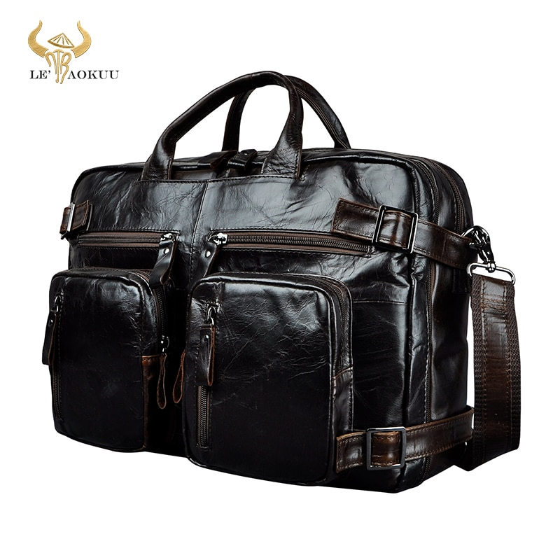 Genuine Leather man design multifunction purpose Maletas Maletin business briefcase 15