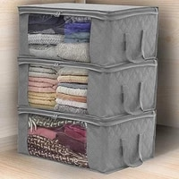 folding clothes storage bags non woven quilt under closet storage box dust proof cabinet finishing boxes save space organizer