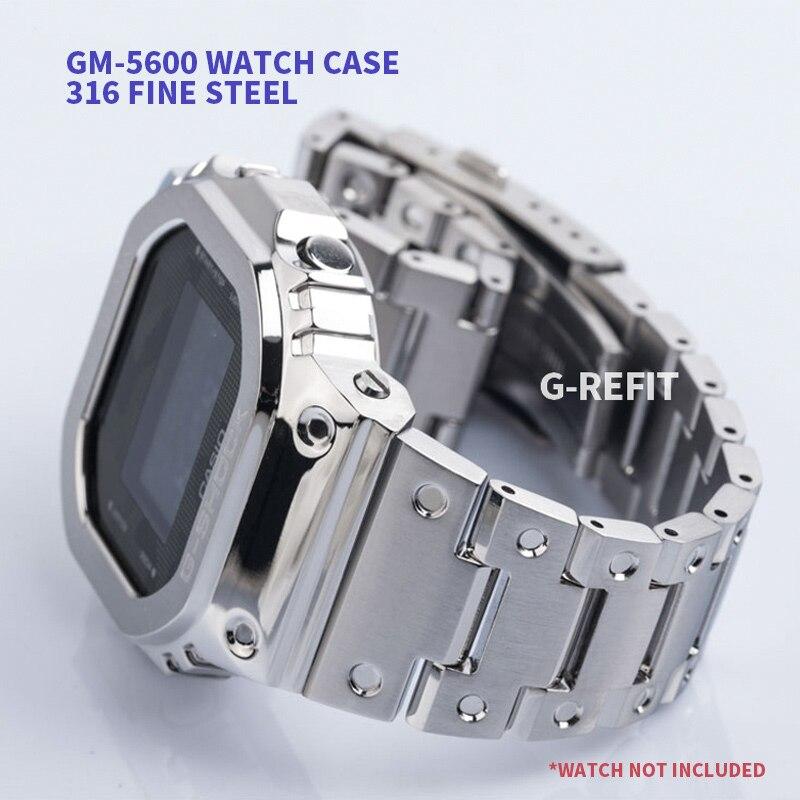 G-مجددة المعادن حزام (استيك) ساعة مدي حزام GM-5600 GA-2100 التمويه الفولاذ المقاوم للصدأ مربط الساعة إطار سوار مع Repal أدوات