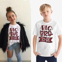2020 Big Bro/sis à être Anouncement T-shirt garçons filles à manches courtes T-shirt à manches courtes frères soeurs famille correspondant hauts T-shirt