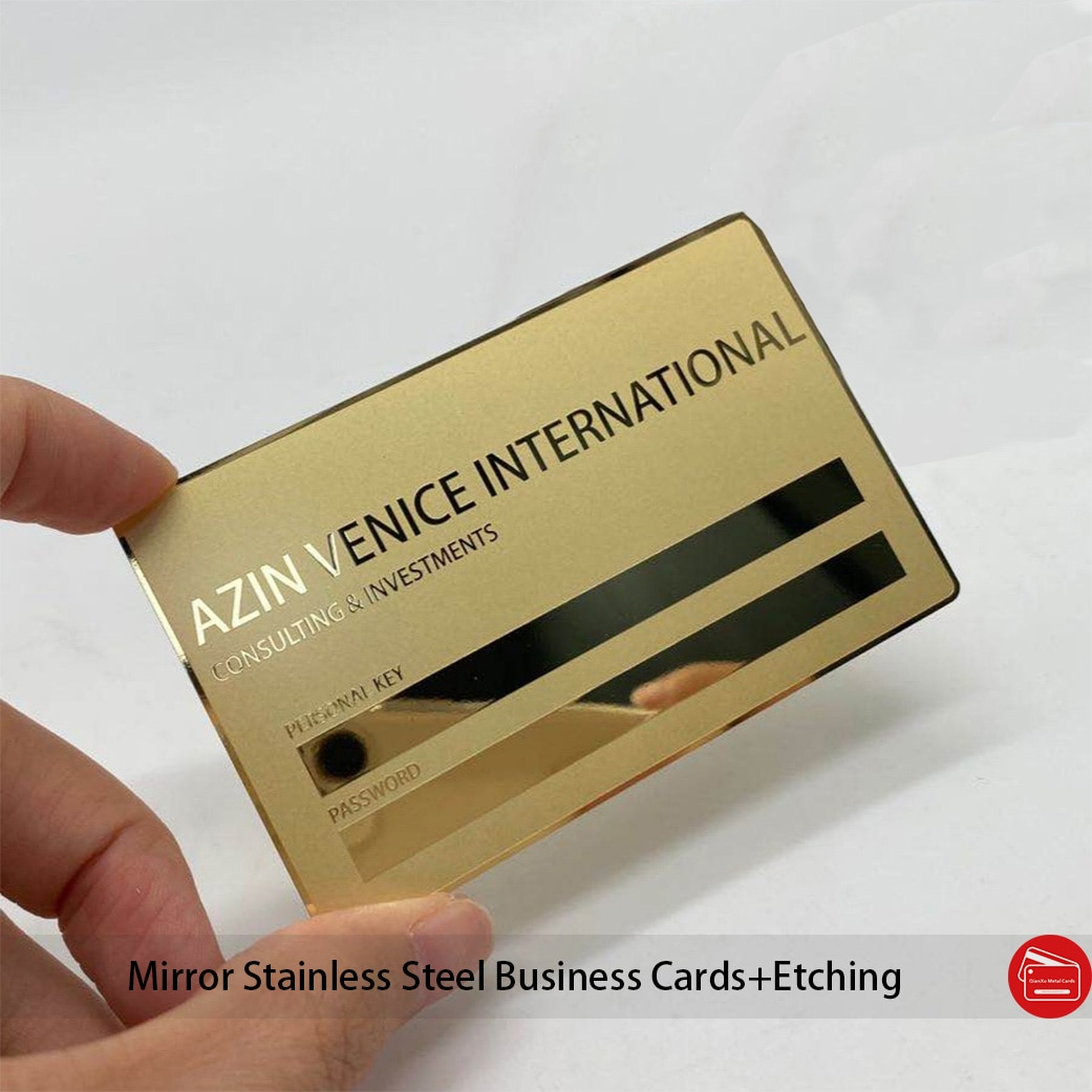 wholesale high quality personalized plated gold color mirror metal business cards chemical etching words in the surface