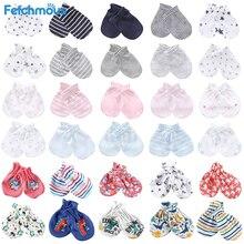 Guantes antiarañazos para bebé recién nacido, de algodón, protección facial, 5 pares