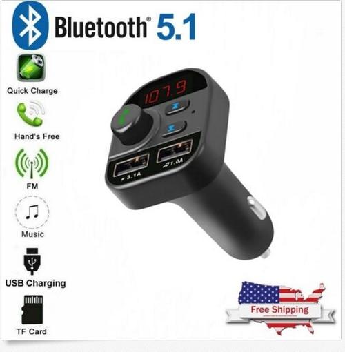 Bluetooth 5,1 transmisor inalámbrico de FM MP3 adaptador de Radio Kit 2 USB cargador de coche accesorios Interior de producto