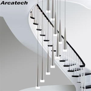 Meteor Shower Spiral Staircase Cone Chandelier Nordic Minimalist LED Acrylic Aluminum Dining Room Chandelier NR-273