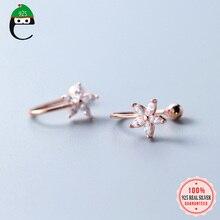ElfoPlataSi 100% Серебро 925 пробы цветок CZ ухо манжеты клип на серьги для девочки без Сережки для пирсинга ювелирные изделия XY1139