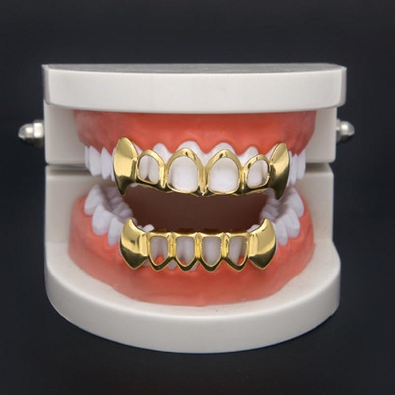 Набор с зубами в стиле хип-хоп, 1 шт., серебристые, золотые, с верхним дном, колпачки в стиле панк, накладные стоматологические грили для женщин и мужчин, украшения для тела, вечерние, для косплея