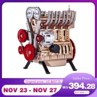 teching luxury gold red mini inline four cylinder car engine metal diy assembly model building kit toy gift christmas 2020