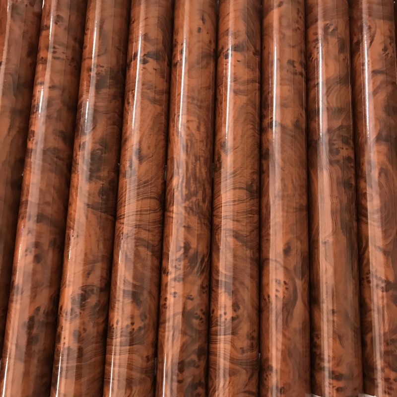 Película decorativa autoadhesiva de madera brillante con textura de madera para muebles, sensación táctil, superficie fácil de limpiar, pegatina