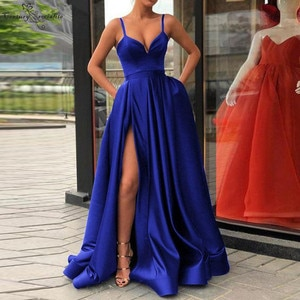 Long Prom Dresses 2020 with Pockets Side Split Spaghetti Simple Satin Evening Dress Formal Party Gown Robe De Soiree Cheap