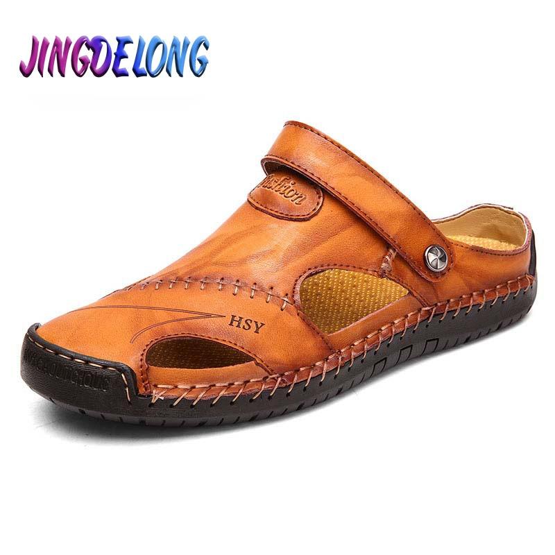 الكلاسيكية الصيف الرجال الصنادل جلد طبيعي لينة تنفس أحذية مصمم الشاطئ الرومانية ماركة الصنادل الجلدية الرجال الصنادل الشرائح