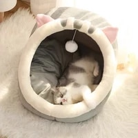 warm cats bed cute cats house kitten lounger cushion for small pet sleep tent washable cat sleeping bag soft dogs basket cave