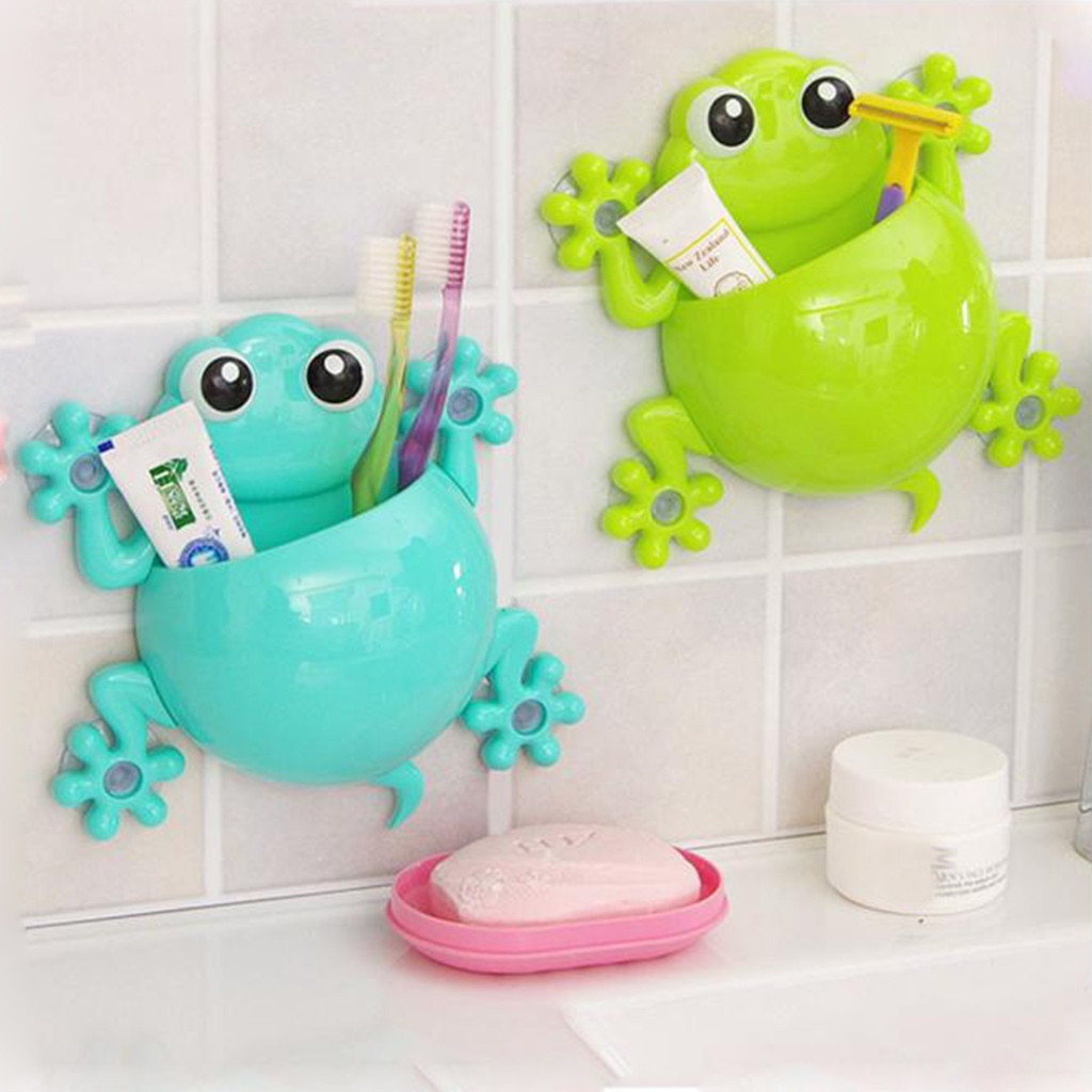 Cute Cartoon Kids Toothbrush Toothpaste Holder Wall Mounted Suction Cup Toothbrush Toothpaste Holder Bathroom Decor  Children To