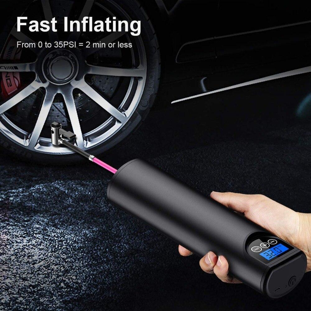 150PSI Inflador de neumáticos sin compresor para coche bicicletas neumáticos bolas Digital bomba de llanta para coche recargable bomba de aire con batería
