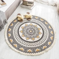 3 sizes bohemian style mandala pattern round carpet non slip bath mat soft thicken cotton and linen area rug for bed room decor