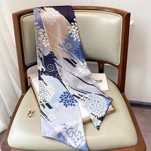 Fashion Ribbon Silk Scarf Women Aztec Floral Neck Long Thin Scarves Lady Ombre Shawls Bandana Hijab