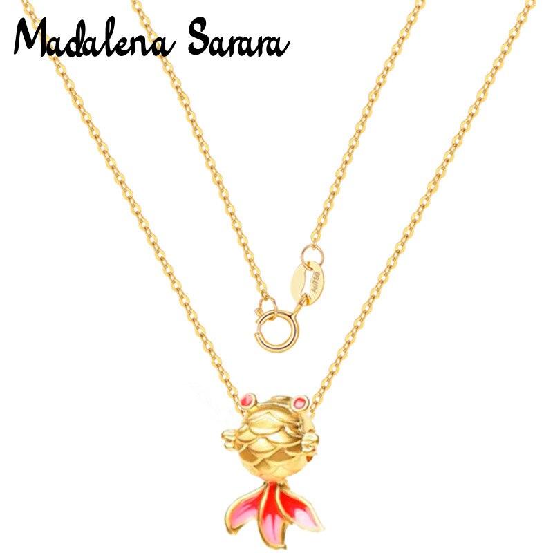 مادالينا سارارا-قلادة ذهبية صغيرة للنساء ، قلادة على شكل سمكة ، ذهب نقي عيار 24 ، سلسلة 18 بوصة