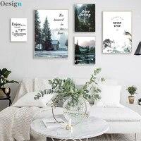 pinturas de montanha de neve na parede lago floresta casa posteres e impress%c3%b5es imagem para decora%c3%a7%c3%a3o de sala de estar pin