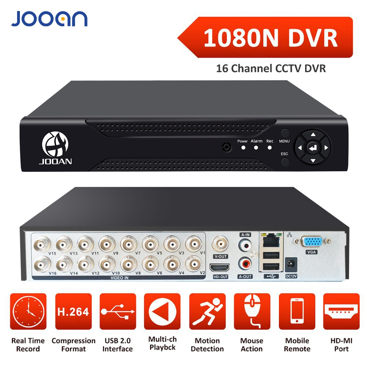 DVR 16CH 8CH 4CH CCTV Recorder For CVBS AHD Analog Camera IP Camera Onvif P2P 1080P Video Surveillance DVR Recorder Registrar
