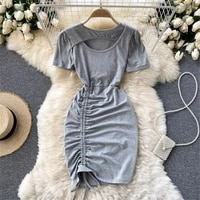 women casual hollow drawstring bodycon mini dresss summer sexy slim robe female fashion short sleeve gray vestidos clothing 2021